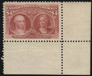 Sale Number 1092, Lot Number 1190, 1893 Columbian Issue (Scott 230-245)$4.00 Columbian (244), $4.00 Columbian (244)