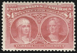 Sale Number 1092, Lot Number 1191, 1893 Columbian Issue (Scott 230-245)$4.00 Rose Carmine, Columbian (244a), $4.00 Rose Carmine, Columbian (244a)