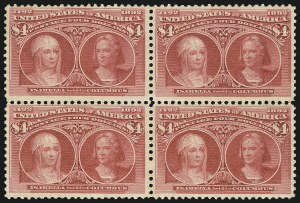 Sale Number 1092, Lot Number 1192, 1893 Columbian Issue (Scott 230-245)$4.00 Columbian (244), $4.00 Columbian (244)