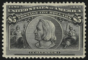 Sale Number 1092, Lot Number 1193, 1893 Columbian Issue (Scott 230-245)$5.00 Columbian (245), $5.00 Columbian (245)