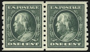 Sale Number 1092, Lot Number 1297, 1908-13 Washington-Franklin, 1909 Commemorative Issues (Scott 331-396)1c Green, Coil (392), 1c Green, Coil (392)