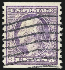 Sale Number 1092, Lot Number 1327, 1913-15 Panama-Pacific thru 1912-15 Issues (Scott 397-461)3c Violet, Coil (456), 3c Violet, Coil (456)