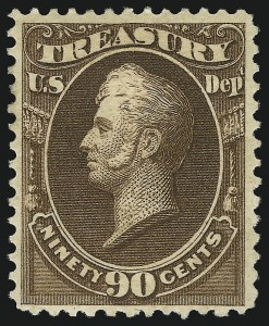 Sale Number 1092, Lot Number 1469, Officials90c Treasury, Soft Paper (O113), 90c Treasury, Soft Paper (O113)