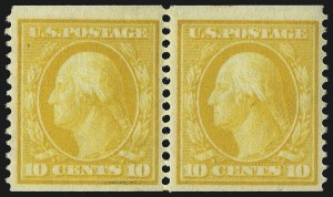 Sale Number 1093, Lot Number 145, 1908-10 Washington-Franklin Coils (Scott 348-356)10c Yellow, Coil (356), 10c Yellow, Coil (356)