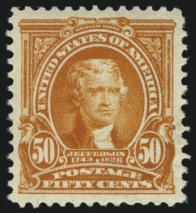 Sale Number 1093, Lot Number 22, 1902-03 Issue (Scott 300-313)50c Orange (310), 50c Orange (310)