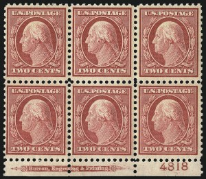 Sale Number 1093, Lot Number 481, 1917-18 Double Line Wmk and Bi-Color Issues (Scott 519-524)2c Carmine (519), 2c Carmine (519)