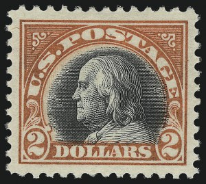 Sale Number 1093, Lot Number 484, 1917-18 Double Line Wmk and Bi-Color Issues (Scott 519-524)$2.00 Orange Red & Black (523), $2.00 Orange Red & Black (523)