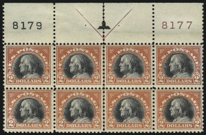 Sale Number 1093, Lot Number 485, 1917-18 Double Line Wmk and Bi-Color Issues (Scott 519-524)$2.00 Orange Red & Black (523), $2.00 Orange Red & Black (523)