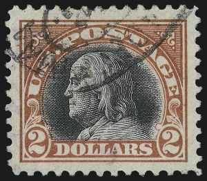 Sale Number 1093, Lot Number 486, 1917-18 Double Line Wmk and Bi-Color Issues (Scott 519-524)$2.00 Orange Red & Black (523), $2.00 Orange Red & Black (523)