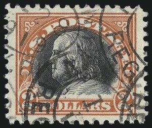 Sale Number 1093, Lot Number 487, 1917-18 Double Line Wmk and Bi-Color Issues (Scott 519-524)$2.00 Orange Red & Black (523), $2.00 Orange Red & Black (523)