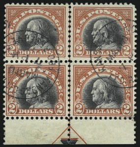 Sale Number 1093, Lot Number 488, 1917-18 Double Line Wmk and Bi-Color Issues (Scott 519-524)$2.00 Orange Red & Black (523), $2.00 Orange Red & Black (523)