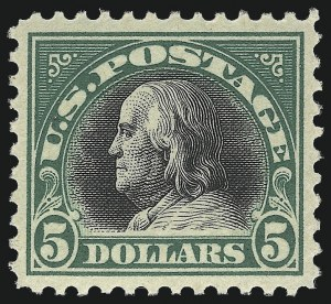 Sale Number 1093, Lot Number 489, 1917-18 Double Line Wmk and Bi-Color Issues (Scott 519-524)$5.00 Deep Green & Black (524), $5.00 Deep Green & Black (524)