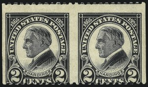 Sale Number 1093, Lot Number 556, 1923 and Later Issues (Scott 578-834a)2c Harding, Horizontal Pair, Imperforate Vertically (610a), 2c Harding, Horizontal Pair, Imperforate Vertically (610a)