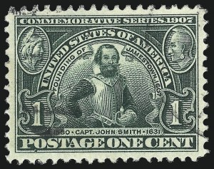 Sale Number 1093, Lot Number 75, 1904 Louisiana Purchase, 1907 Jamestown Issues (Scott 323-330)1c Jamestown (328), 1c Jamestown (328)