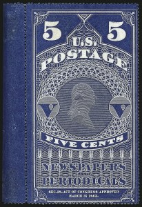Sale Number 1094, Lot Number 160, Newspapers & Periodicals: 1865 Issue and 1875 Reprints (Scott PR1-PR7)5c Dark Blue, Colored Border, 1865 Issue (PR1), 5c Dark Blue, Colored Border, 1865 Issue (PR1)