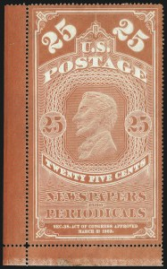 Sale Number 1094, Lot Number 162, Newspapers & Periodicals: 1865 Issue and 1875 Reprints (Scott PR1-PR7)25c Orange Red, Colored Border, 1865 Issue (PR3), 25c Orange Red, Colored Border, 1865 Issue (PR3)