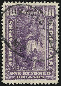 Sale Number 1094, Lot Number 262, Newspapers & Periodicals: 1895-97 Issues and Group Lots (Scott PR102-PR125)$100.00 Purple, 1895 Watermarked Issue (PR125), $100.00 Purple, 1895 Watermarked Issue (PR125)