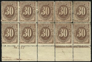 Sale Number 1094, Lot Number 58, Postage Due: 1879-91 Issues (Scott J1-J28)30c Red Brown (J20), 30c Red Brown (J20)