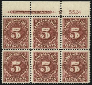 Sale Number 1094, Lot Number 90, Postage Due: 1894-1912 Issues (Scott J29-J50)5c Deep Claret (J48), 5c Deep Claret (J48)
