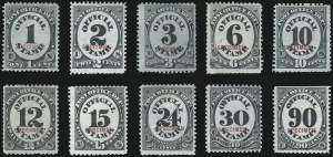 Sale Number 1095, Lot Number 586, Post Office Department1c-90c Post Office, Specimen Ovpt. (O47S-O56S), 1c-90c Post Office, Specimen Ovpt. (O47S-O56S)