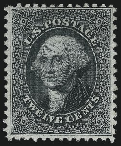 Sale Number 1096, Lot Number 100, 1875 Reprint of 1857-60 Issue (Scott 40-47)12c Greenish Black, Reprint (44), 12c Greenish Black, Reprint (44)