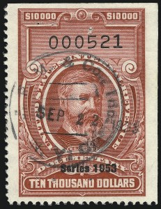 "Sale Number 1096, Lot Number 1000, 1898 Spanish-American War, Documentary, Proprietary Revenue Issues$10,000.00 Carmine, ""Series 1953"" Ovpt. (R653), $10,000.00 Carmine, ""Series 1953"" Ovpt. (R653)"