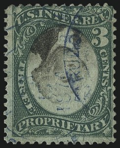 Sale Number 1096, Lot Number 1004, 1898 Spanish-American War, Documentary, Proprietary Revenue Issues3c Green & Black on Violet Paper, Proprietary, Center Inverted (RB3ad), 3c Green & Black on Violet Paper, Proprietary, Center Inverted (RB3ad)