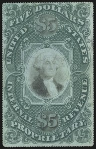 Sale Number 1096, Lot Number 1006, 1898 Spanish-American War, Documentary, Proprietary Revenue Issues$5.00 Green & Black on Violet Paper, Proprietary (RB10a), $5.00 Green & Black on Violet Paper, Proprietary (RB10a)