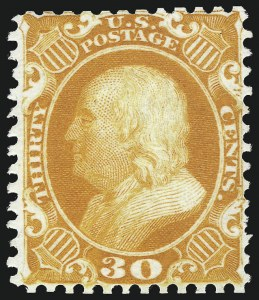 Sale Number 1096, Lot Number 102, 1875 Reprint of 1857-60 Issue (Scott 40-47)30c Yellow Orange, Reprint (46), 30c Yellow Orange, Reprint (46)