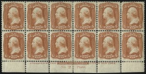 Sale Number 1096, Lot Number 105, 1861 First Designs and Colors (Scott 55-62B)3c Orange Red, First Design (56 var), 3c Orange Red, First Design (56 var)