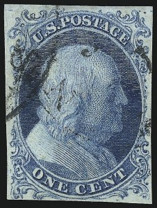 Sale Number 1096, Lot Number 11, 1851-56 Issue (Scott 5-17)1c Blue, Ty. Ib (5A), 1c Blue, Ty. Ib (5A)