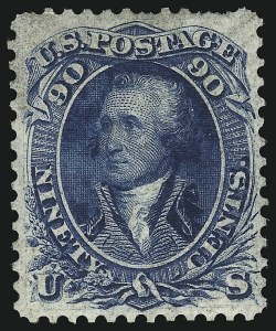 Sale Number 1096, Lot Number 111, 1861 First Designs and Colors (Scott 55-62B)90c Blue, First Design (62), 90c Blue, First Design (62)