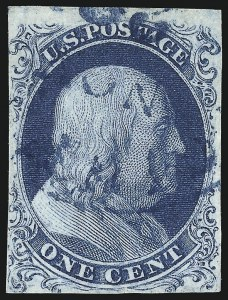 Sale Number 1096, Lot Number 12, 1851-56 Issue (Scott 5-17)1c Blue, Ty. Ia (6), 1c Blue, Ty. Ia (6)