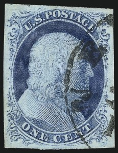 Sale Number 1096, Lot Number 17, 1851-56 Issue (Scott 5-17)1c Blue, Ty. IIIa (8A), 1c Blue, Ty. IIIa (8A)