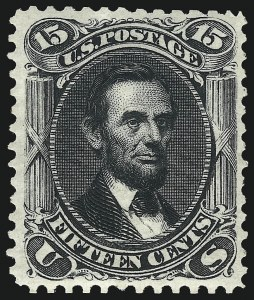Sale Number 1096, Lot Number 206, 1875 Re-Issue of 1861-66 Issue (Scott 102-111)15c Black, Re-Issue (108), 15c Black, Re-Issue (108)
