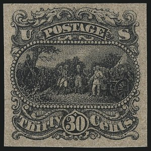 Sale Number 1096, Lot Number 211, 1869 Pictorial Issue (Scott 112-122)30c Black, Burgoyne Plate Essay on Thin Surface-Tinted Paper (121-E1p), 30c Black, Burgoyne Plate Essay on Thin Surface-Tinted Paper (121-E1p)