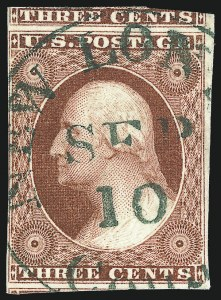 Sale Number 1096, Lot Number 25, 1851-56 Issue (Scott 5-17)3c Brownish Carmine, Ty. II (11A), 3c Brownish Carmine, Ty. II (11A)