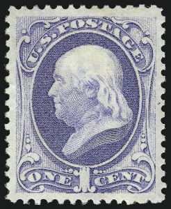 Sale Number 1096, Lot Number 296, 1873-75 Continental Bank Note Co. Issue (Scott 156-166, 178-179)1c Ultramarine (156), 1c Ultramarine (156)