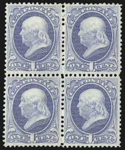 Sale Number 1096, Lot Number 297, 1873-75 Continental Bank Note Co. Issue (Scott 156-166, 178-179)1c Ultramarine (156), 1c Ultramarine (156)