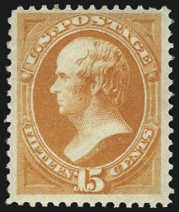 Sale Number 1096, Lot Number 304, 1873-75 Continental Bank Note Co. Issue (Scott 156-166, 178-179)15c Yellow Orange (163), 15c Yellow Orange (163)
