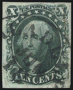 Sale Number 1096, Lot Number 34, 1851-56 Issue (Scott 5-17)10c Green, Ty. IV (16), 10c Green, Ty. IV (16)