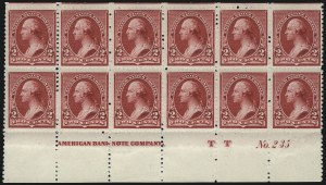 "Sale Number 1096, Lot Number 386, 1890-93 Issue (Scott 219-229)2c Carmine, Cap on Left ""2"" (220a), 2c Carmine, Cap on Left ""2"" (220a)"