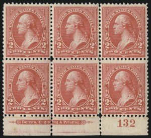 Sale Number 1096, Lot Number 443, 1894 Unwatermarked Bureau Issue (Scott 246-263)2c Carmine, Ty. II (251), 2c Carmine, Ty. II (251)