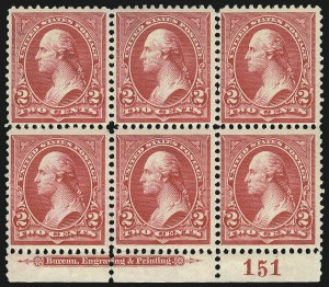 Sale Number 1096, Lot Number 446, 1894 Unwatermarked Bureau Issue (Scott 246-263)2c Carmine, Ty. III (252), 2c Carmine, Ty. III (252)