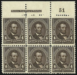 Sale Number 1096, Lot Number 449, 1894 Unwatermarked Bureau Issue (Scott 246-263)4c Dark Brown (254), 4c Dark Brown (254)