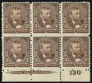 Sale Number 1096, Lot Number 450, 1894 Unwatermarked Bureau Issue (Scott 246-263)5c Chocolate (255), 5c Chocolate (255)