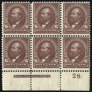 Sale Number 1096, Lot Number 452, 1894 Unwatermarked Bureau Issue (Scott 246-263)6c Dull Brown (256), 6c Dull Brown (256)