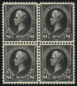 Sale Number 1096, Lot Number 459, 1894 Unwatermarked Bureau Issue (Scott 246-263)$1.00 Black (261), $1.00 Black (261)