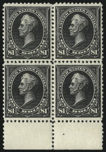 Sale Number 1096, Lot Number 463, 1894 Unwatermarked Bureau Issue (Scott 246-263)$1.00 Black, Ty. II (261A), $1.00 Black, Ty. II (261A)