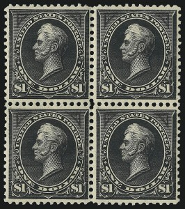 Sale Number 1096, Lot Number 480, 1895-98 Watermarked Bureau Issues (Scott 264-284)$1.00 Black, Ty. I (276), $1.00 Black, Ty. I (276)